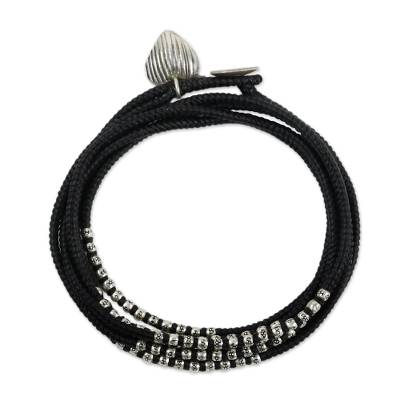 Black Cord Wrap Bracelet with Hill Tribe Silver (21-Inch )