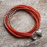 Silver accented wrap bracelet, 'Orange Hill Tribe Sweetheart' - Hill Tribe Silver and Orange Cord Wrap Bracelet (21 Inches)