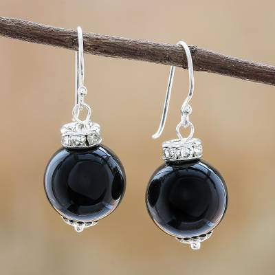 Onyx dangle earrings, 'Perfect Orbs' - Onyx and Sterling Silver Dangle Earrings from Thailand