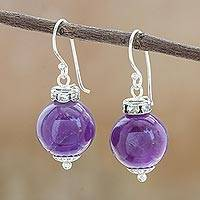 Amethyst dangle earrings, 'Perfect Orbs' - Amethyst and 925 Silver Dangle Earrings from Thailand