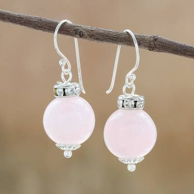 Rose quartz dangle earrings, 'Perfect Orbs' - Rose Quartz and 925 Silver Dangle Earrings from Thailand