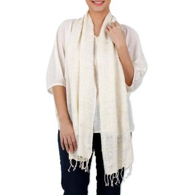 Silk shawl, 'Afternoon Breeze' - Handwoven Fringed Silk Shawl in Ivory from Thailand