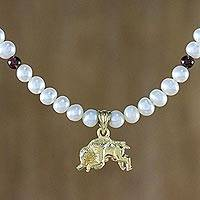 Gold plated cultured pearl and garnet pendant necklace, 'Radiant Taurus' - Gold Plated Cultured Pearl and Garnet Taurus Necklace
