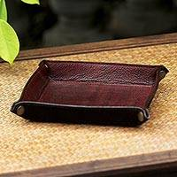 Leather catchall, 'Russet Chocolate' - Handcrafted Thai Leather Catchall in Russet and Chocolate