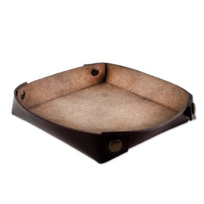 Handcrafted Thai Leather Catchall in Espresso and Nutmeg