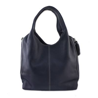 Handcrafted Leather Tote in Navy Blue from Thailand