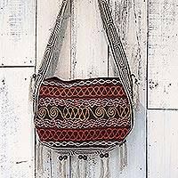 Hemp blend shoulder bag, 'Friendly Earth in Coal' - Hemp Blend Embroidered Shoulder Bag in Coal from Thailand