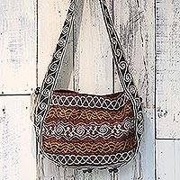 Hemp blend shoulder bag, 'Friendly Earth in Maroon' - Hemp Blend Embroidered Shoulder Bag in Maroon from Thailand