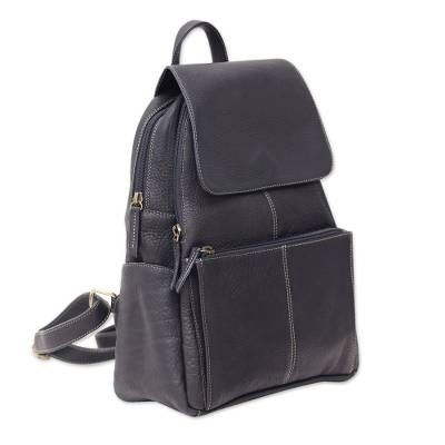 Handcrafted Leather Backpack in Coal Black from Thailand