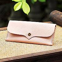Leather wallet, 'Simple Traveler in Blush' - Handcrafted Leather Wallet in Blush from Thailand