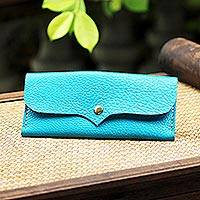 Leather wallet, 'Simple Traveler in Teal' - Handcrafted Leather Wallet in Teal from Thailand