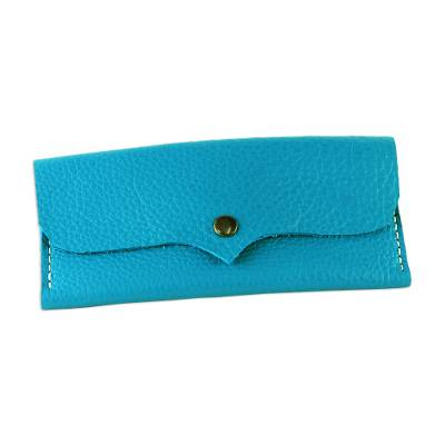 Handcrafted Leather Wallet in Teal from Thailand