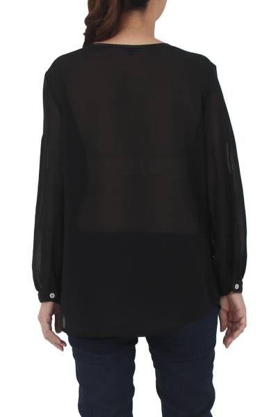 Lace accent blouse, 'Noble Grace in Black' - Black Polyester Long Sleeve Tie Neck Blouse from Thailand