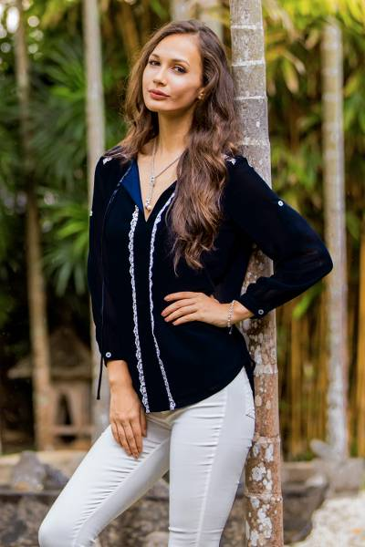 Lace accent blouse, 'Noble Grace in Blue' - Blue Polyester Long Sleeve Tie Neck Blouse from Thailand