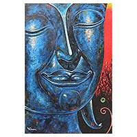'The Calmness II' - Original Signed Blue Buddha Painting from Thailand