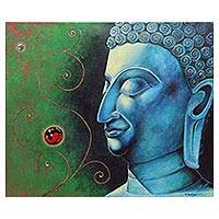 'Calmness Buddha' - Signed Original Thai Buddha Painting in Blue and Green