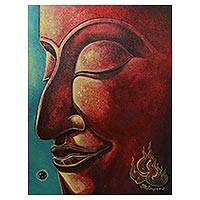 'Peaceful Buddha I' - Signed Original Buddha Painting from Thailand