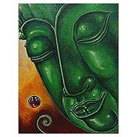 'Peaceful Buddha II' - Signed Original Thai Buddha Painting in Acrylic on Canvas