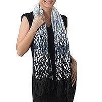 Tie-dyed rayon blend scarf, 'Smoke Drift' - Rayon Blend Tie-Dyed Scarf in Onyx and Smoke