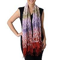 Rayon blend scarf, 'Color Fall' - Tie-Dyed Rayon Blend Scarf in Russet and Iris from Thailand
