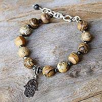 Jasper beaded bracelet, 'Stellar Hamsa' - Jasper and Sterling Silver Hamsa Bracelet from Thailand