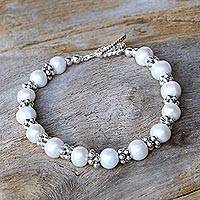 Cultured pearl beaded bracelet, 'Ocean Princess in White' - Karen Silver and Cultured Pearl Bracelet from Thailand