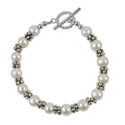Karen Silver and Cultured Pearl Bracelet from Thailand