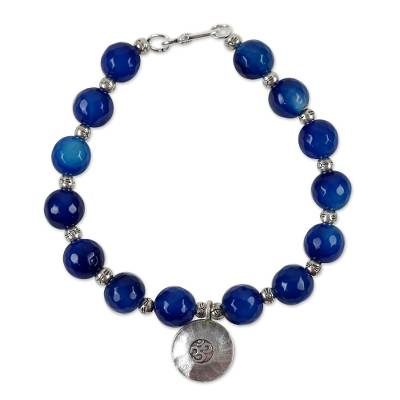 Karen Silver and Agate Beaded Bracelet from Thailand