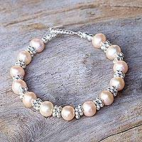 Cultured pearl beaded bracelet, 'Ocean Princess in Peach' - Karen Silver and Cultured Pearl Thai Beaded Bracelet