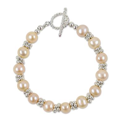 Karen Silver and Cultured Pearl Thai Beaded Bracelet