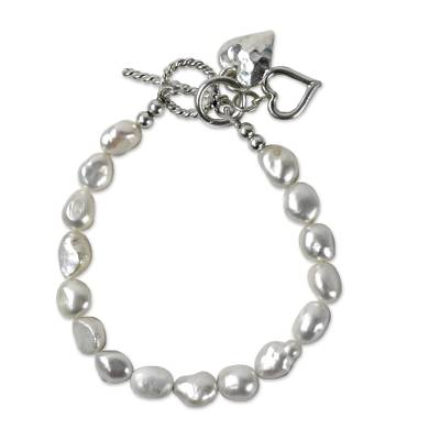 Cultured Pearl Beaded Heart Charm Bracelet from Thailand