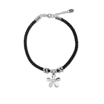 Sterling Silver Floral Charm Bracelet from Thailand