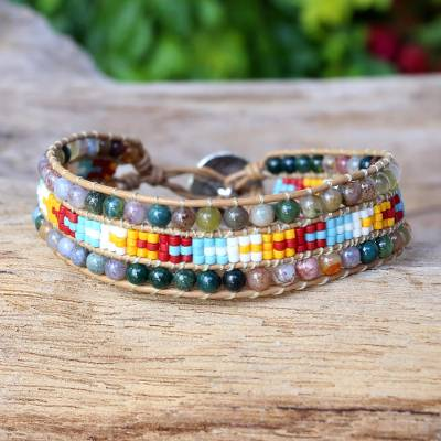 Agate wristband bracelet, 'Dreamy Colors' - Karen Silver Agate Beaded Wristband Bracelet from Thailand