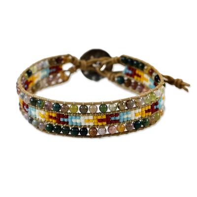Karen Silver Agate Beaded Wristband Bracelet from Thailand