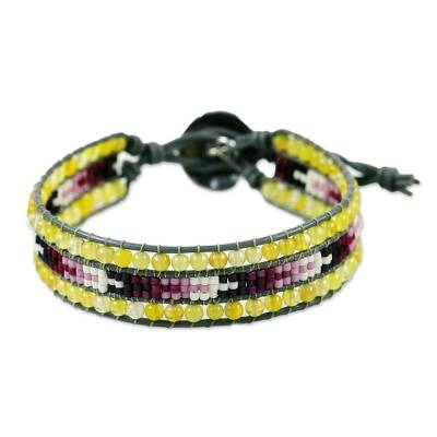 950 Silver Agate Beaded Wristband Bracelet from Thailand