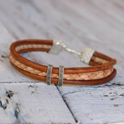 Silver accent braided bracelet, 'Tan Textural Contrast' - Brown and Tan Leather Bracelet with Hill Tribe Silver
