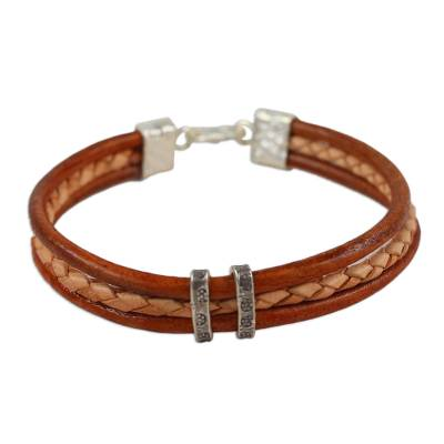 Brown and Tan Leather Bracelet with Hill Tribe Silver