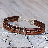 Silver accent braided bracelet, 'Brown Textural Contrast' - Brown Leather Braided Bracelet with Hill Tribe Silver