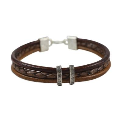 Brown Leather Braided Bracelet with Hill Tribe Silver
