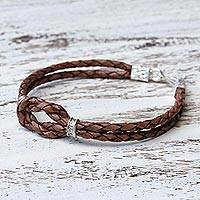 Silver accented braided bracelet, 'Square Knot in Espresso' - Thai Hill Tribe Silver Accent Dark Brown Leather Bracelet