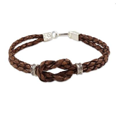 Braided Brown Leather Square Knot Fine Silver Accent Wristband Bracelet