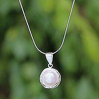 Cultured pearl pendant necklace, 'Pearl Radiance' - Cultured Pearl Pendant Necklace from Thailand