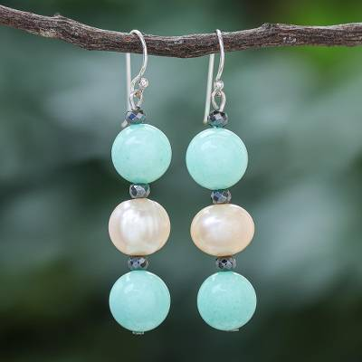 Multi-gemstone dangle earrings, 'Peach Center' - Cultured Pearl and Quartz Multi-Gem Earrings from Thailand