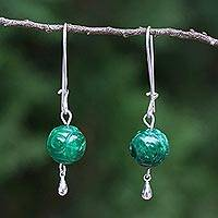 Quartz dangle earrings, 'Luxurious Chiang Mai' - Green Quartz and Sterling Silver Earrings from Thailand