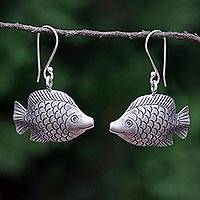 Silver dangle earrings, 'Karen Fishes' - Silver Dangle Earrings of Smiling Fish from Thailand