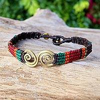 Brass pendant bracelet, 'Love Spiral' - Colorful Brass Pendant Woven Bracelet Crafted in Thailand