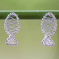 Sterling silver drop earrings, 'Fish Wrap' - Thai Artisan Crafted Sterling Silver Fish Drop Earrings