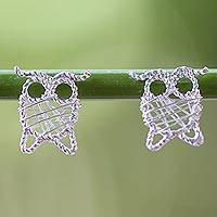 Sterling silver drop earrings, 'Owl Wrap' - Thai Artisan Crafted 925 Sterling Silver Owl Drop Earrings