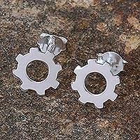 Sterling silver stud earrings, 'Gears Turning' - Silver Gear Earrings with High Polish Finish from Thailand