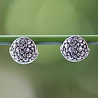 Sterling silver huggie hoop earrings,